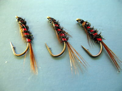 3 X DIAWL BACH HOLOGRAPHIC RED NYMPH WET TROUT FLIES sizes 10,12,14,16 available
