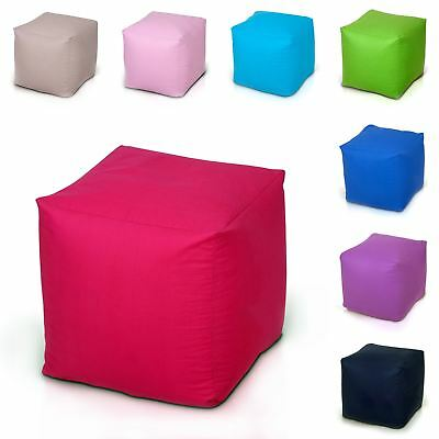 100% Cotton Bean Bag Beanbag Foot Stool Rest Pouffe Cube Box Seat with Filling