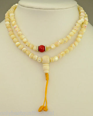 Mala Pearl Necklace (7mm) pearl Coral Mother of Pearl Tesbih 66