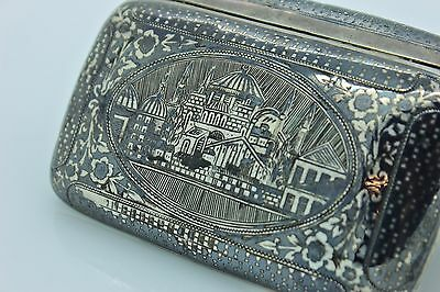 Antique Original Handmade Ottoman Silver Niello Armenian Van Cigar Case