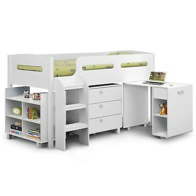 Julian Bowen Kimbo White Cabin Bed with Pull Out Desk ANGEL