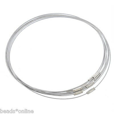 """10Pcs Steel Wire Choker Necklaces Screw Clasp 18"""""""