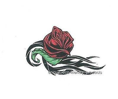 b16d61a4085a2 SMALL TEMPORARY RED Rose Tattoo For Women Realistic Flora Flower ...
