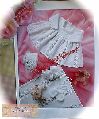 "Vintage Knitting Pattern Baby Girls 5 Piece ""Misty Lace"" Layette  JUST £1.69"