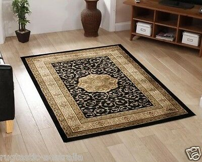 RANI RUG 3 BLACK Large Cream Traditional Persian 6 SIZES Floor Carpet FREE POST*