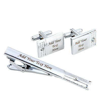 Mens Silver & Diamante Personalised Tie Clip Pin Bar Cufflink Set Engraved Gift