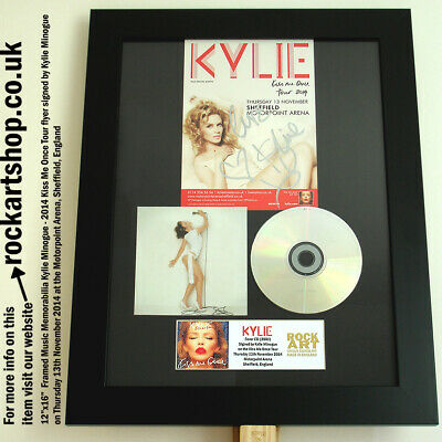KYLIE MINOGUE SIGNED Kiss Me Once FLYER 2014 CD COA Autographed Framed WorldShip