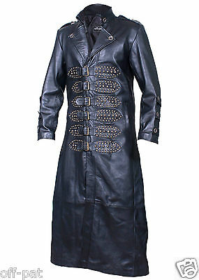 Mens 100% Leather BLACK Goth Steampunk Gothic Matrix Trench Coat Removeable Hood