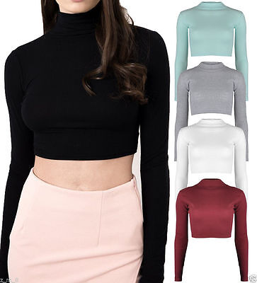 Ladies Ribbed Cotton Polo Turtle Neck Crop Top Long Sleeve Stretch Short Plain