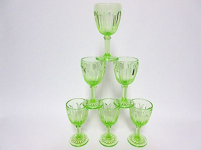 6 Vintage Matching Green Colonial Wine Goblets / Hocking Glass Co