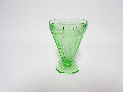 Vintage Green Adam Footed Water Tumbler / Jeannette Glass Co.