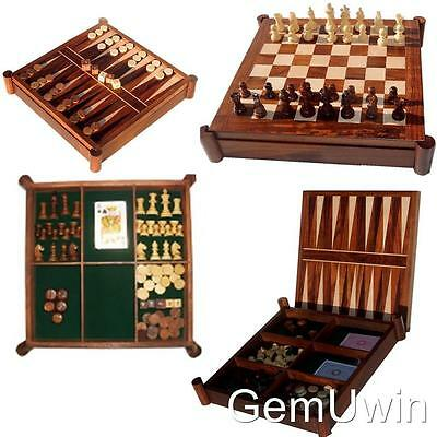 """5 Board Game Chess Backgammon Checkers Draught Poker Dice Play Cards  30 cm 12"""""""