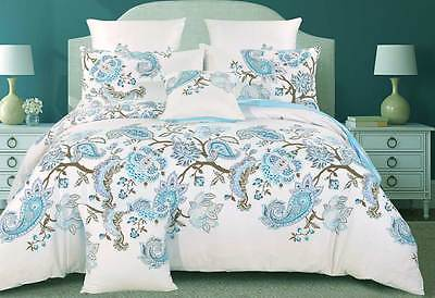 100% COTTON Queen / King doona cover set / blue Paisley quilt Cover or options