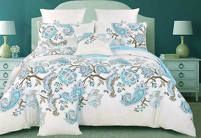 100% COTTON Queen / King size doona cover set / blue Paisley quilt Cover Set