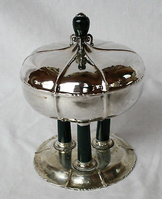 Magnificent 1920 German Silver Covered  Dish With Agate Base & Top