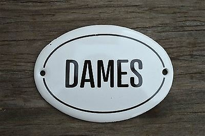 Small Antique Style Enamel Metal Dames Sign Door Plaque Ladies Toilet Room
