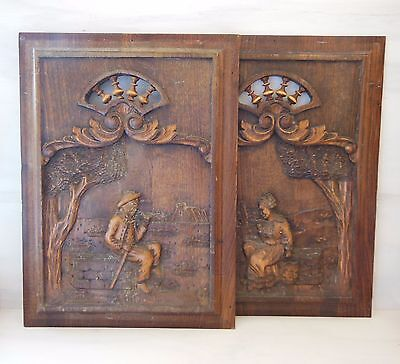 ANTIQUE FRENCH HAND CARVED WOOD PANEL x 2 Woman & Man