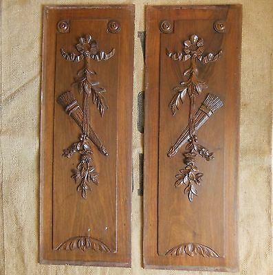 ANTIQUE FRENCH HAND CARVED WOOD PANEL x 2 Quiver Flowers Ribbon LONG