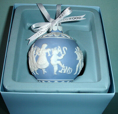 Wedgwood Merry Christmas & Happy New Year Ball Ornament Blue & White Jasper New