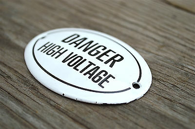Small Antique Style Enamel Metal Danger High Voltage Door Sign Door Plaque