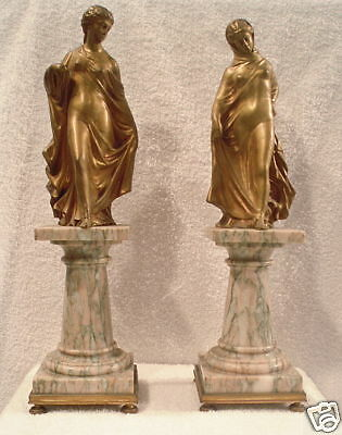 Magnificent Pair Of 19th  c French Dore Bronze On Marble Statue MUST SEE