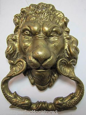 Old Brass Figural Lions Head Dauphin Koi Door Pull ornate architectural hardware