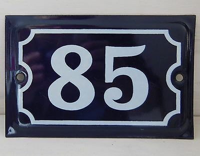 Antique French Dark Blue Enamel Porcelain Door House Gate Number Sign Plate 85