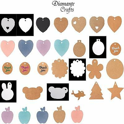 Tags Kraft Paper Labels Craft Luggage + String - Choose Amount from 63 Designs
