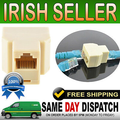 RJ45 Double Adapter for Lan Ethernet Cat5e Splitter Twin Connector 1 - 2 coupler