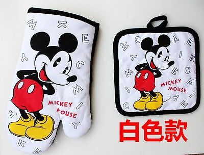 New Disney White Mickey Kitchen Placemat Oven Mitt Pot Holders By Home Set