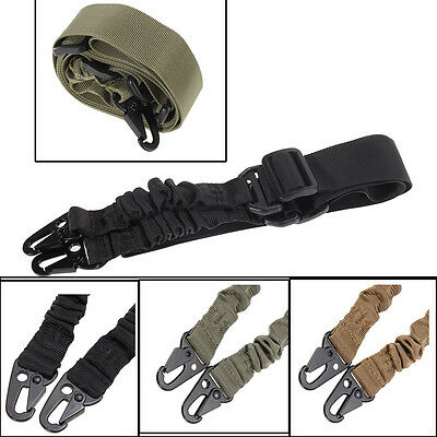 Adjustable Quick Tactical 2 Dual Two Point Padded Bungee Rifle Gun Sling Strap