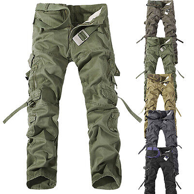Casual Mens Fashion Military Army Cargo Straight Army Combat Long Trousers Pants