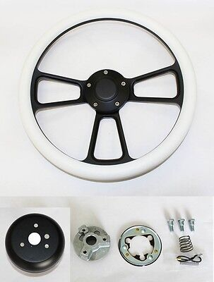 """New Nova Chevelle Steering Wheel Red Grip 14/"""" Shallow Dish Billet Polished"""