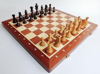 NEW MADON TOURNAMENT NR 5 CHERRY WOODEN CHESS SET 48cm WITH WEIGHTED PIECES