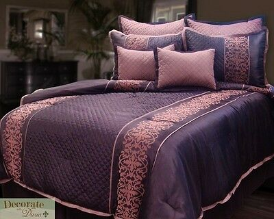 beautiful 7 pc tufted cal king size purple comforter bed set new. Black Bedroom Furniture Sets. Home Design Ideas