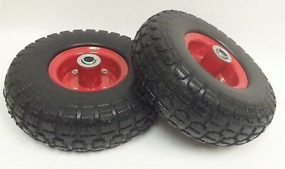 """(2) New 10"""" Flat Free Solid Tire Wheel for Dolly Handtruck Cart -27019"""