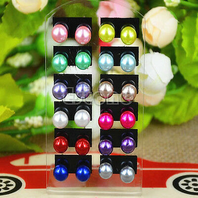 Cute Wholesale Lot 12 Pairs Women Fashion Party Round Style Ear Stud Earring Set