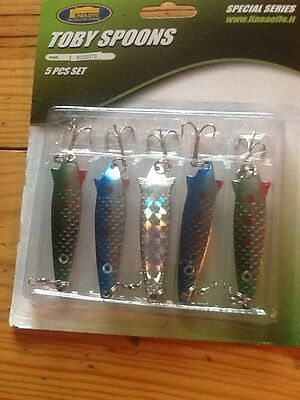 fishing lures set of 5 toby spoons 12gm salmon bass sea trout lures