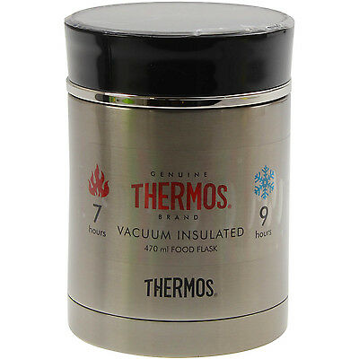Thermos Discovery 470ml Black Food Vacuum Flask Double Wall Insulated Storage