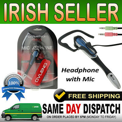 Microphone Headphone Headset for PC Laptop Computer with Mic Skype MSN Chat VOIP