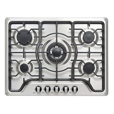 iQ 70cm 5 Burner Gas Hob in Stainess Steel & Cast Iron Pan Supports!