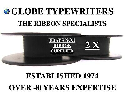 2 x 'OLYMPIA TRAVELLER DELUXE' *BLACK* TOP QUALITY *10 METRE* TYPEWRITER RIBBONS