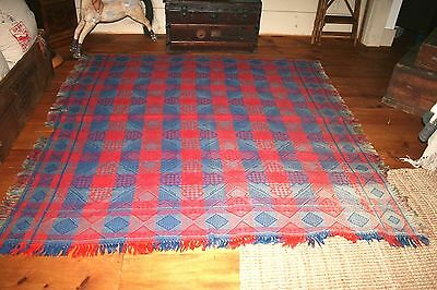 ANTIQUE Blanket Quilt AMERICAN COVERLET Reversible Bedspread WOOL WOVEN Handmade