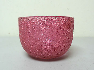Unusual Antique Bohemian Art Glass Finger Bowl, Cranberry Craquelle / Overshot