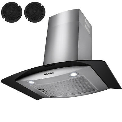 """30"""" Stainless Steel Wall Mount Range Hood Black Tempered Glass Kitchen Vents"""