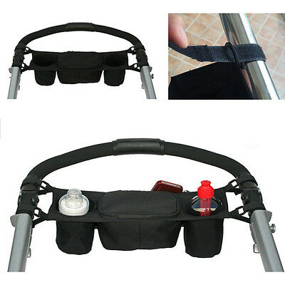Baby Single Umbrella Stroller Handle Console Tray Back Organizer Dual Cup Holder