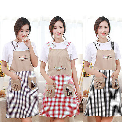 New Cute Women Home Kitchen Restaurant Bib Cooking Apron Pocket Aprons Gift