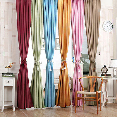 Window Curtain Heavy Thick Panel Blackout Thermal Lined Solid Treatment Drapes