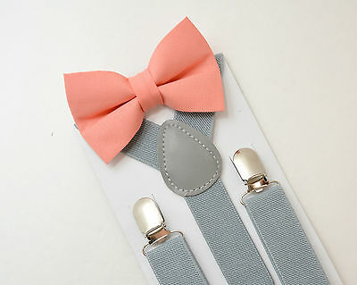 Kids Boys Mens Light Gray Suspenders & Salmon Coral Bow tie SET 6mon- ADULT