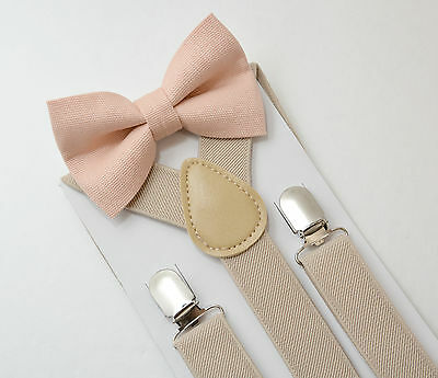 Kids Boys Mens Tan Khaki  Suspenders & Pale Blush Pink Bow tie SET 6mon - ADULT